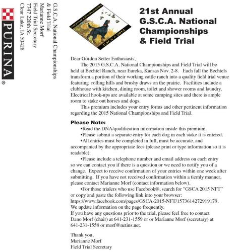 GSCA National Field Trial 1