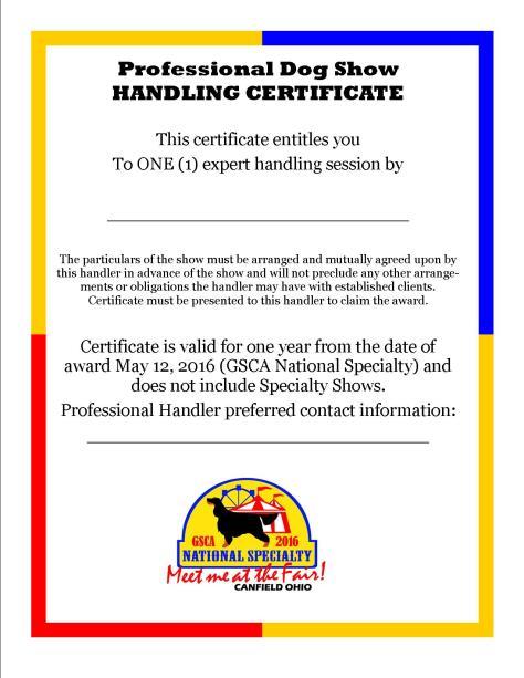 Handler Certificate Raffle